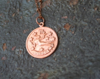 Vintage Copper VIRGO Astrological Sign Astrology Charm Necklace