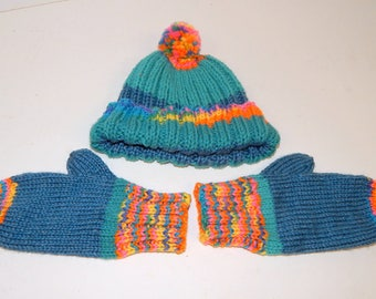Hand Knitted Toddler Hat and Mittens Multi Colored Acrylic Yarn