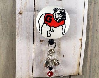 Georgia Bulldogs DAWGS Custom Retractable Badge Reel * NCAA Football * nurse teacher gift * great for security badges work wear FOB holder