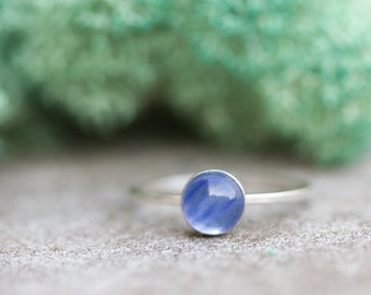 Blue Glass - Simple silver ring with bright Blue Glass cabochon, 6mm