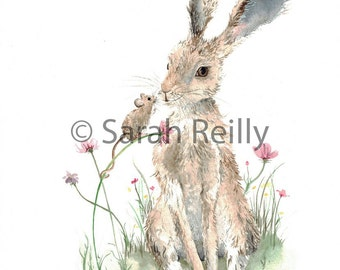 Little Friend - Hare and mouse ART PRINT hares pictures print wildlife painting wall art poster