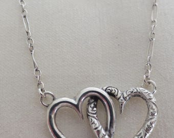 Vintage Sterling Silver Kissing Hearts Pendant !!