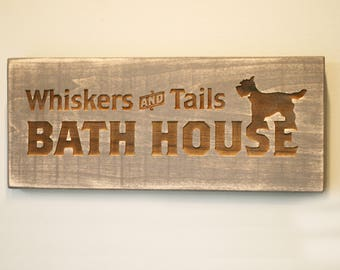 Whiskers and Tails Bath House Engraved Wooden Sign | Dog Signs | Home Decor for Dog Lovers