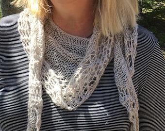 Hand knit summer scarf, linen/rayon