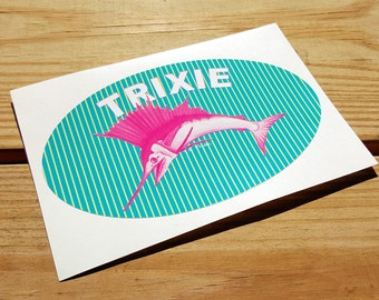 Trixie pink sailfish sticker aqua pinstripe with pink sailfish for your car, golf cart or bike UV vinyl