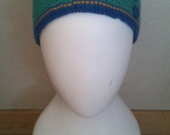 KNITTING PATTERN round knit hat with buttons, easy knitting pattern, beginner pattern, beginner knitting pattern, simple knitting pattern