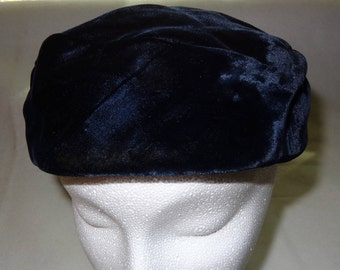 1940's Royal Blue Velvet Pillbox Hat