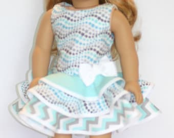"""American made 18"""" doll dress in aqua and white"""