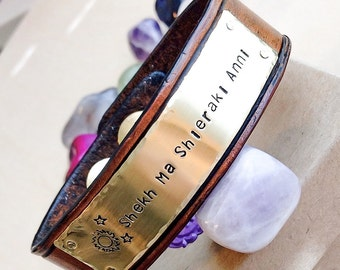 Custom Leather Bracelet, Personalized leather cuff bracelet, Custom metal stamped cuff, Leather cuff, Custom Leather Cuff, Custom Leather