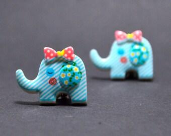 Earrings clip on blue elephant