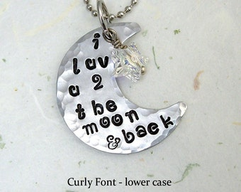 I Love You To The Moon And Back Hand Stamped Necklace Great Mother's Day Gift