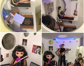 Music Love: hand crafted room box/diorama 1/6 scale for blythe, momoko, fashion royalty, barbie, obitsu OOAK
