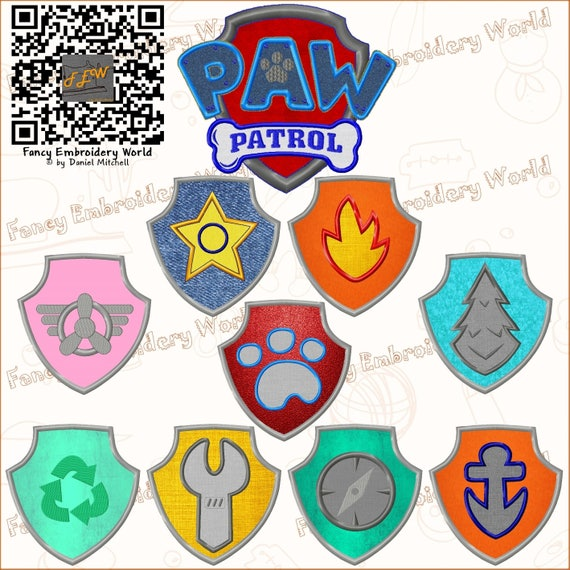 Set of 10 paw patrol badges applique embroidery design machine set of 10 paw patrol badges applique embroidery design machine embroidery embroidery designs instant download 5 sizes 8 formats 2029 0 from dt1010fo