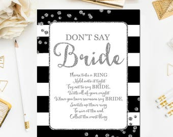 Black Bridal Shower Game, Don't Say Bride Game Glitter Confetti Black Bridal Shower Game Printable Instant Download BR46