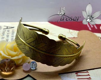 Bracelet, Bronze, feather, adjustable