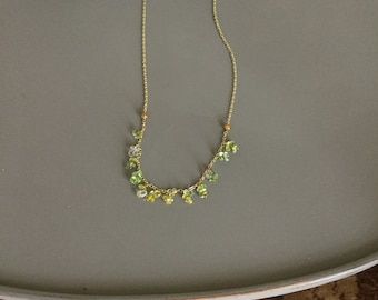 """32"""" Gold Plated Chain with Green Hanging Beads"""