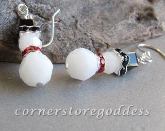 Cornerstoregoddess Swarovski Crystal Snow Man Snowperson Snowman Earrings