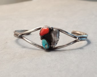 Vintage Native American Sterling Silver Turquoise Coral Cuff Bracelet Navajo Indian Southwest Carved Leaf Design Old Pawn Jewelry