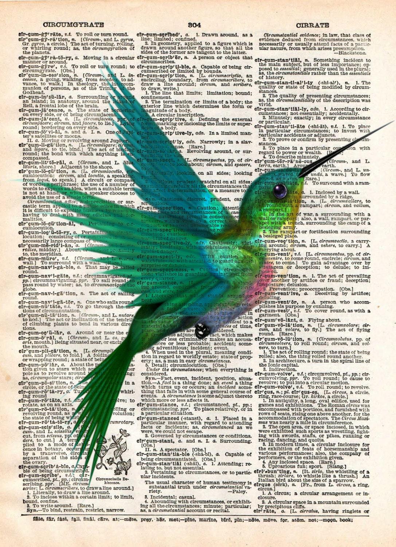 Impression dart colibri art doiseau mignon mouche oiseau - Oiseau mouche dessin ...