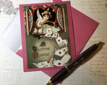 VALENTINES DAY Card - Please be mine,  vintage photograph, handmade card