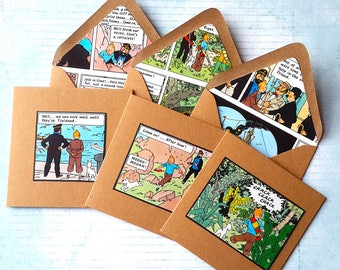 Tintin Cards - 3 Tintin Note Cards- Small Handcrafted Tintin Notelets - Tintin Envelopes - Tintin Greetings Cards