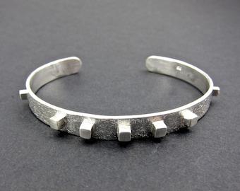 small silver cuff, spiky stacking cuff, textured cuff,