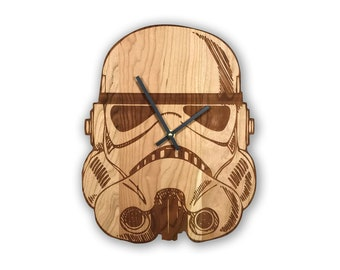 Star Wars Stormtrooper Helmet Laser Engraved Wooden Wall Clock