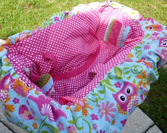Shopping Cart Cover, Pink Owl & Flower design, with matching drawstring bag