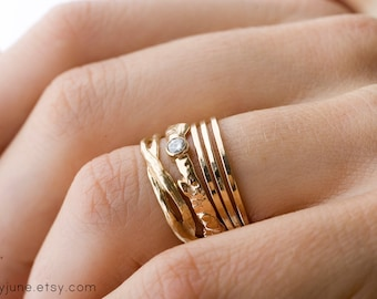 14k Gold Diamond Branch and Twisty Ring Set   Stacking Rings   Handmade Rings