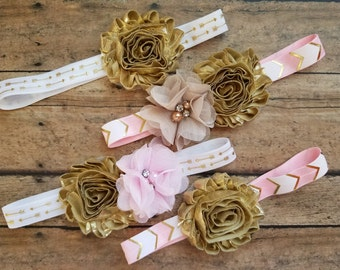 Pink, Tan and Gold Flower Elastic Arrow Headband, Photo Prop, Baby Girl, Shabby Chic