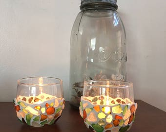 Sea Glass Mosaic Votives (2)