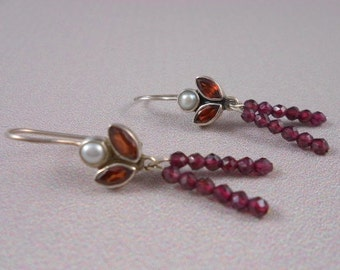 Garnet and Pearl Unique earrings