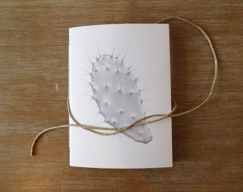 Handcrafted POCKET JOURNAL. A6 Size. Illustrated NOTEBOOK. Printed from my original pencil drawing. Prickly pear. Pocket Notebook.