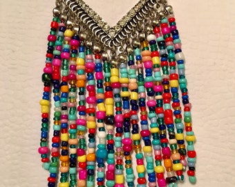 Multi-color Seed Bead Chevron Pendant Necklace. Long Chain! Boho Jewelry! Gorgeous!