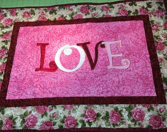 Pink Table Runner Gift/Love Table Runner/Table Topper/Word Table Runner/Love Message/Love and Roses Table Runner/Love Gift Table Runner