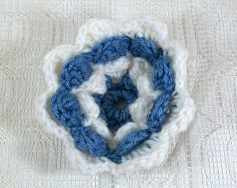 Crochet Flower / Blue Flower / Flower Brooch / Crochet Accessory / Crochet Embellishment / Crochet Applique / Crochet Flower for Hat