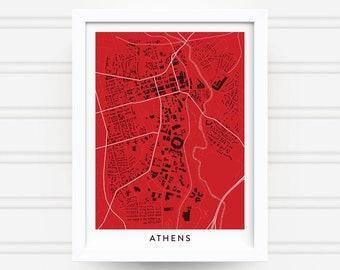 ATHENS GEORGIA Map Print - Home Decor - Office Decor - Athens Artwork - Poster - Wall Art - University of Georgia Gift - UGA - Bulldogs Art