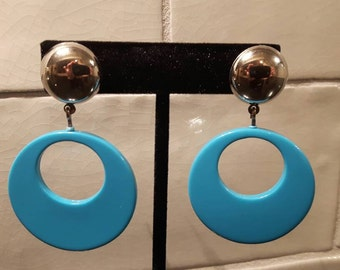 Vintage 1980's stud dangle hoop earrings light blue retro party