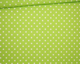 Dots on green 100% cotton fabric printed 50 x 160 cm