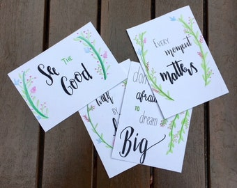 Watercolour Quote Postcards, pack of 4