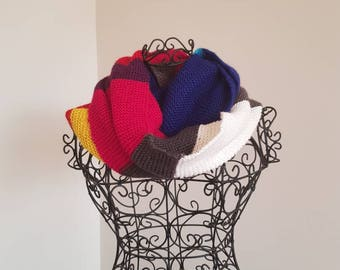 Fun multi coloured infinity scarf/cowl