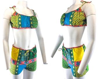 1960s Patchwork Cotton 2 Piece Bathing Suit Bikini