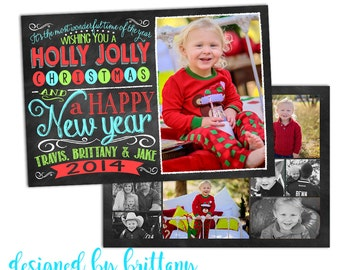 We Wish you a Merry Christmas, and a Happy New Year, 12 Photos, double sided, Christmas Card - Digital File only