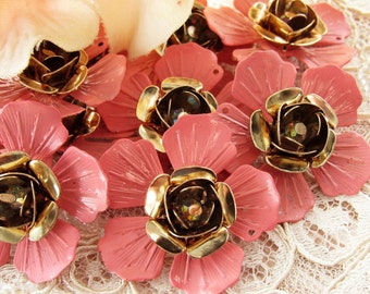 Vintage Petal Pink Enameled Layered Metal Flower Findings Brass Crystal AB - 4
