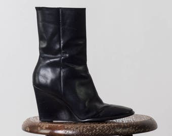 90's Vintage Leather Wedge Booties