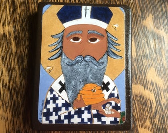 2.5 X 3.5 ish inch Saint Ambrose Folk Byzantine Icon on Wood