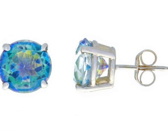 14Kt White Gold Natural Blue Mystic Topaz Round Stud Earrings
