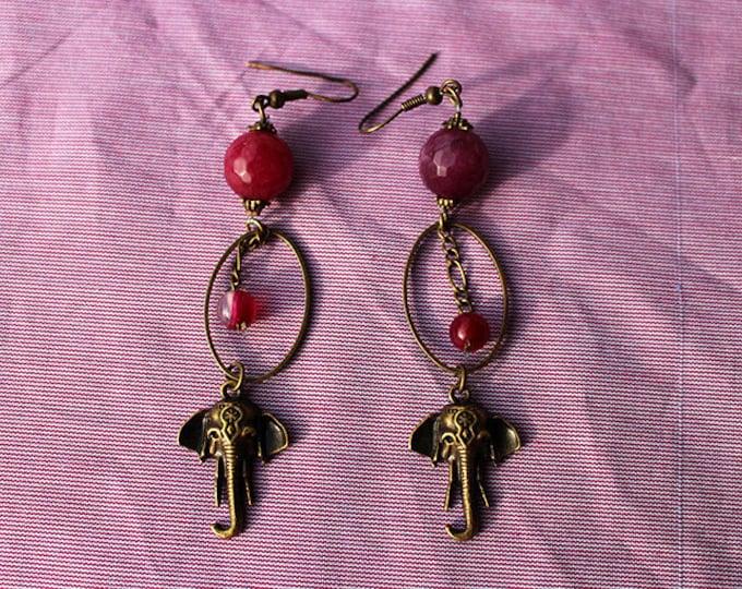 Elephant Bohemian Earrings, purple tinted agate bead, pendant earrings, purple glass bead, gift for her