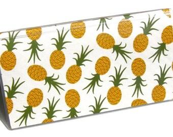 CHECKBOOK COVER - Pineapple Toss. Check Book Cover, Checkbook Wallet, Checkbook Holder, Gift For Her, Gold, Emerald Green, Gift Idea