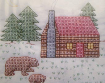 """18"""" Cabin & Bear Quilt Squares"""